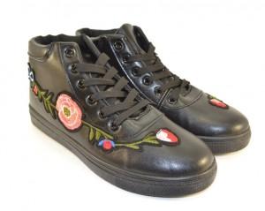 Ботинки весенние и осенние - Модные конверсы с вышивкой LXC7478 BLACK
