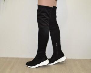Весенние сапоги - стильные стрейчевые ботфорты 6680-PG BLACK