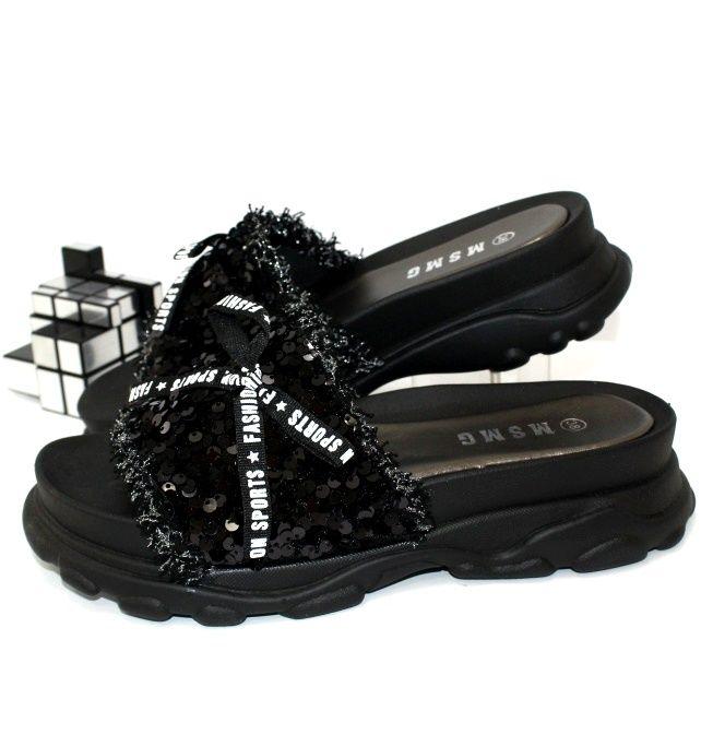 Шлёпанцы чёрные с пайетками модные красивые