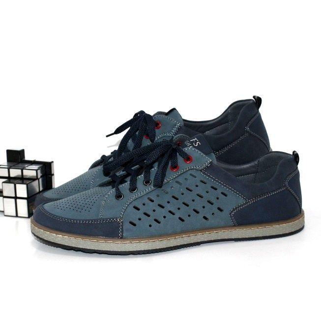 Летние мужские туфли синего цвета под джинсы